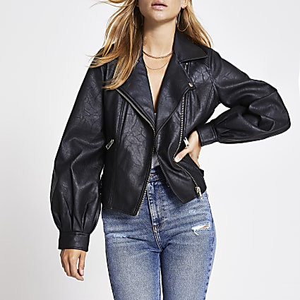 Black faux leather balloon sleeve jacket