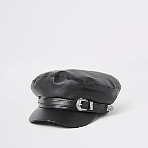 Black faux leather belted baker boy hat