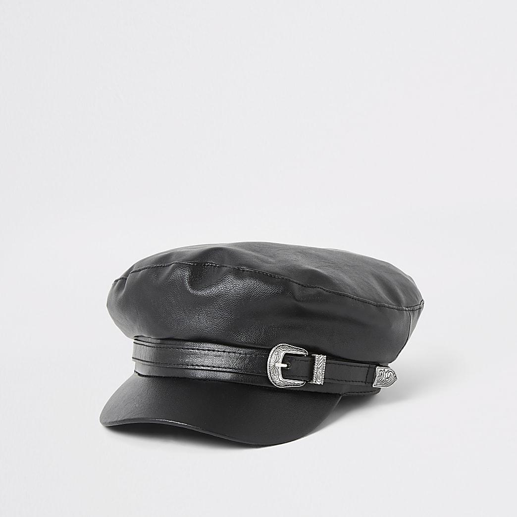 Casquette gavroche avec ceinture en cuir synthétique noir