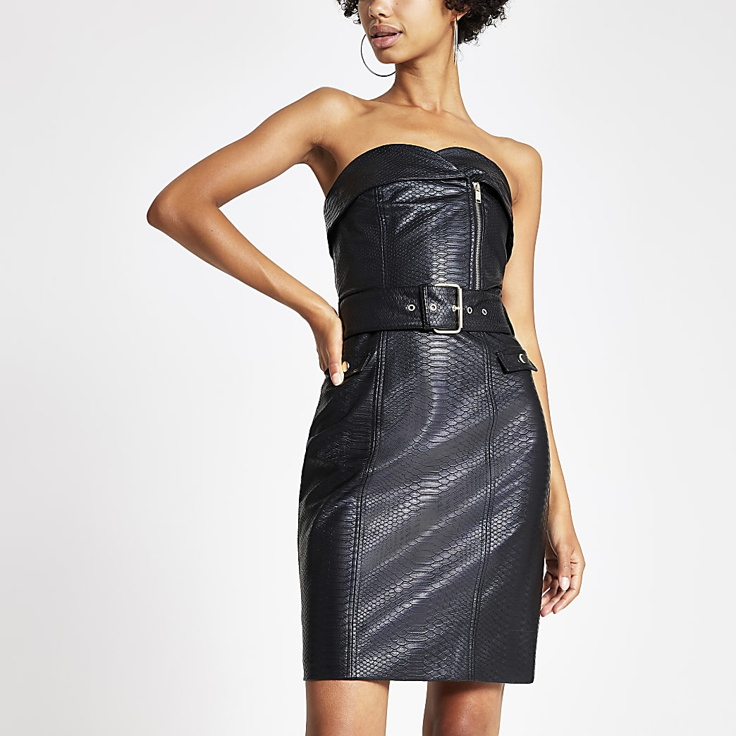 Black faux leather belted bandeau dress