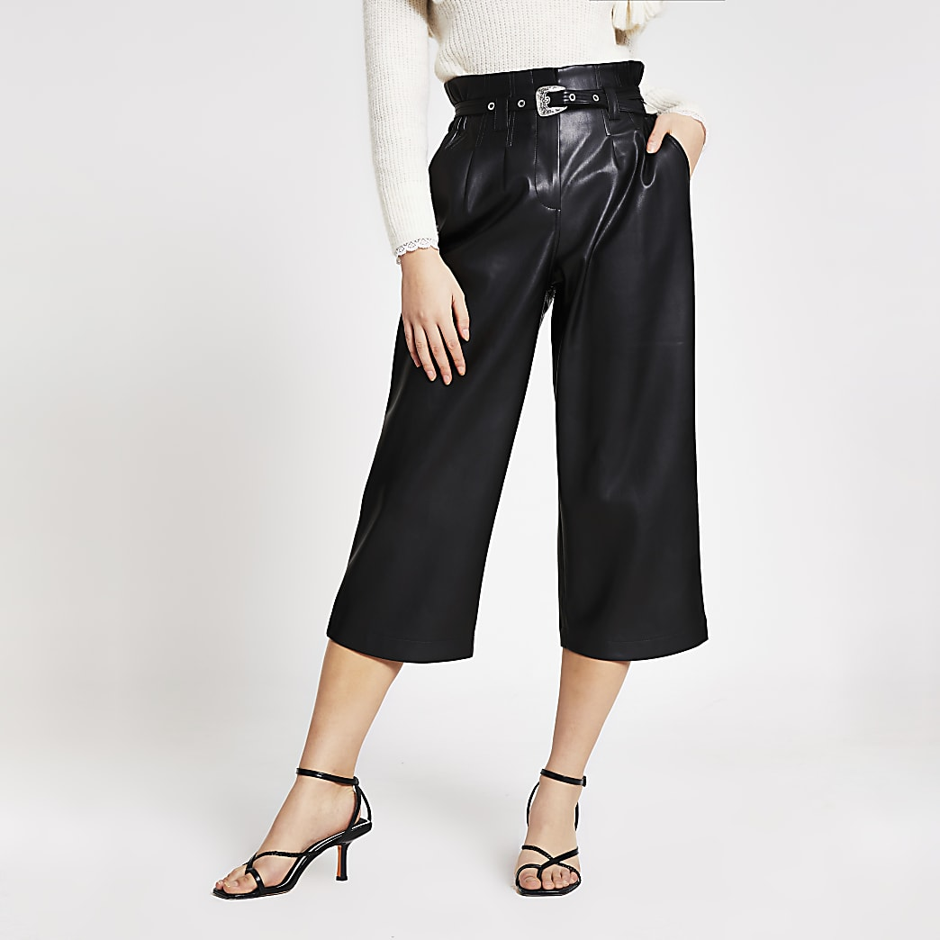 Black faux leather belted culotte trousers
