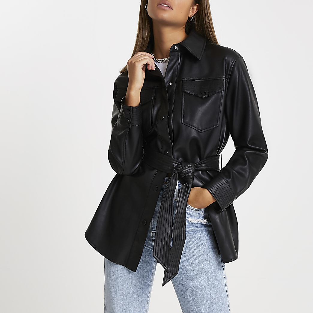Black faux leather belted shacket