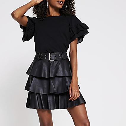 Black faux leather belted tiered mini skirt