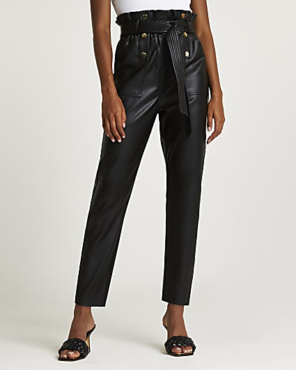 Black faux leather belted trousers
