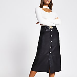 Black faux leather belted waist midi skirt