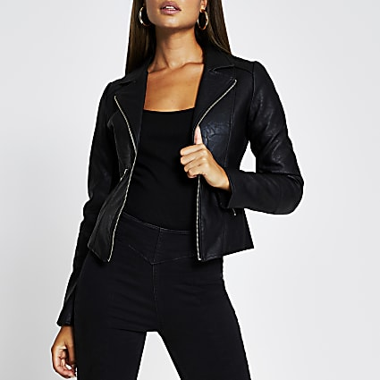 Black Faux Leather Biker Blazer Jacket