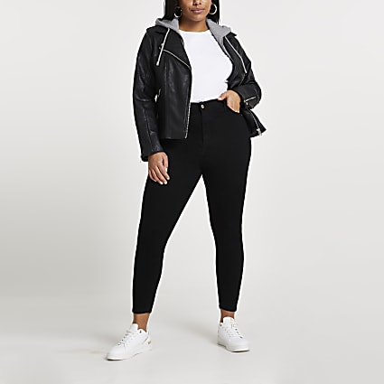 Black faux leather biker hoodie jacket