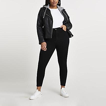 Black faux leather biker hoodie jacket