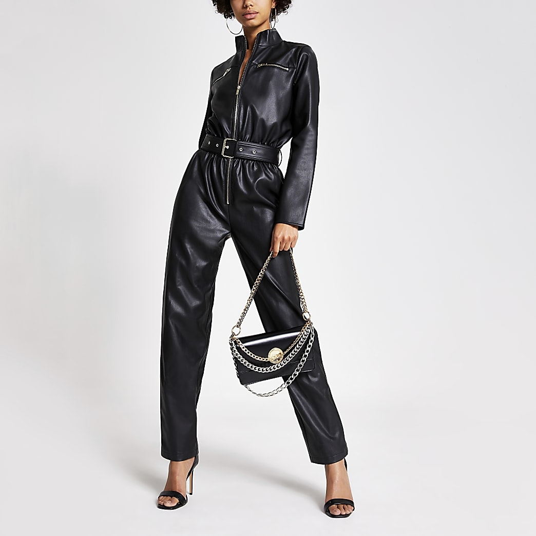 Black faux leather boiler jumpsuit