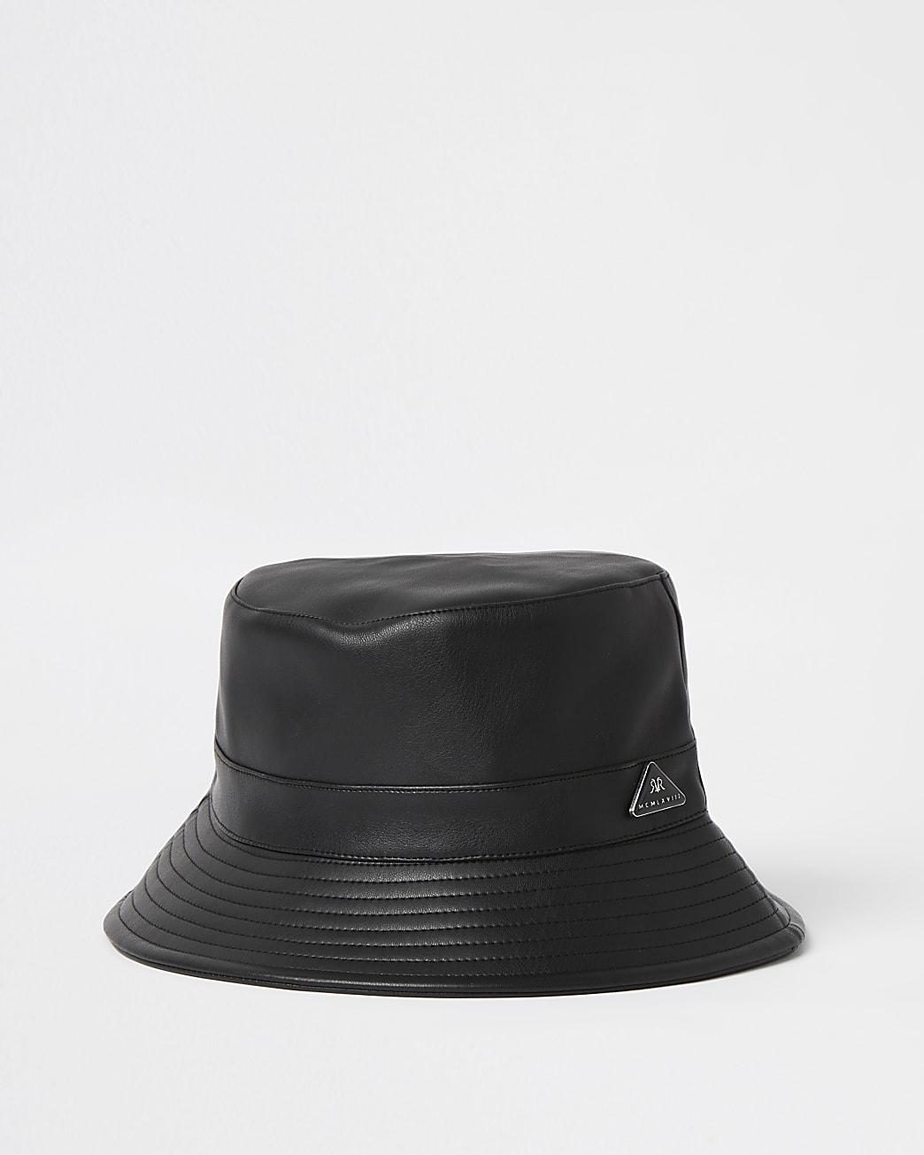 Black faux leather bucket hat