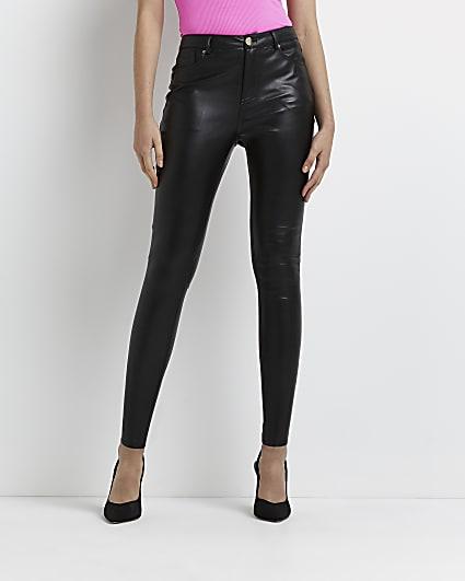 Black faux leather bum sculpt skinny trousers