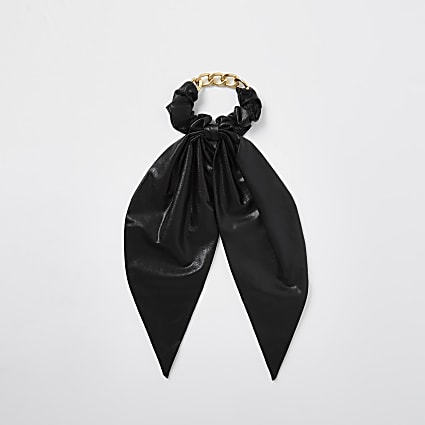 Black faux leather chain scarf scrunchie