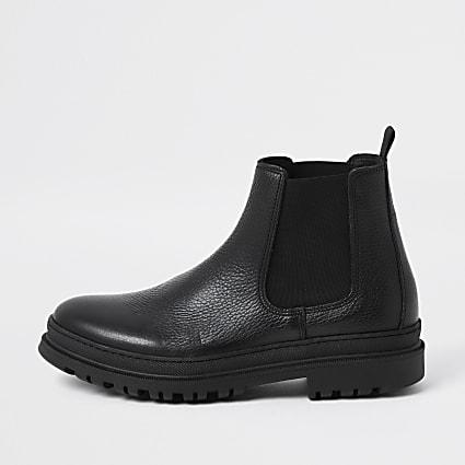 Black faux leather Chelsea boots