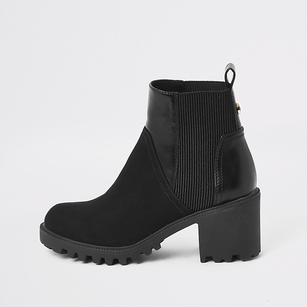 Black faux leather chunky wide fit boots