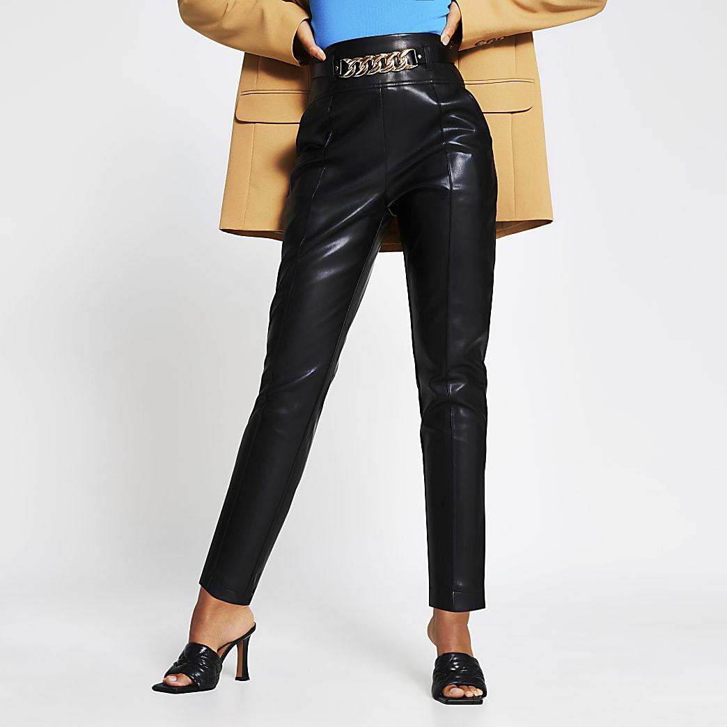Black Faux Leather Cigarette Trouser