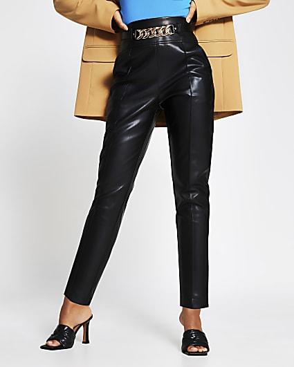 Black faux leather cigarette trousers