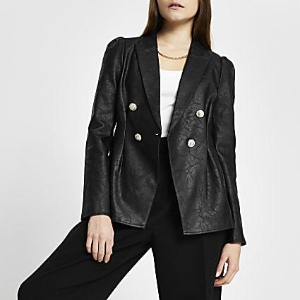 Black faux leather cinched waist blazer