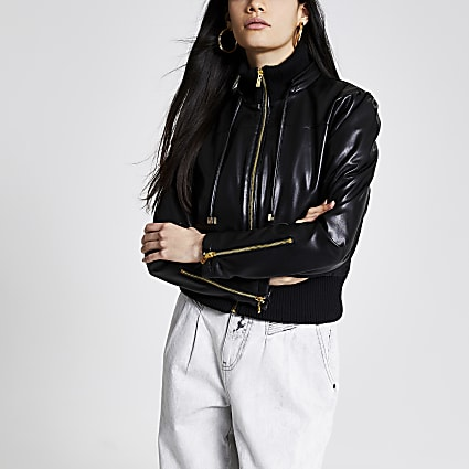Black faux leather cropped bomber jacket