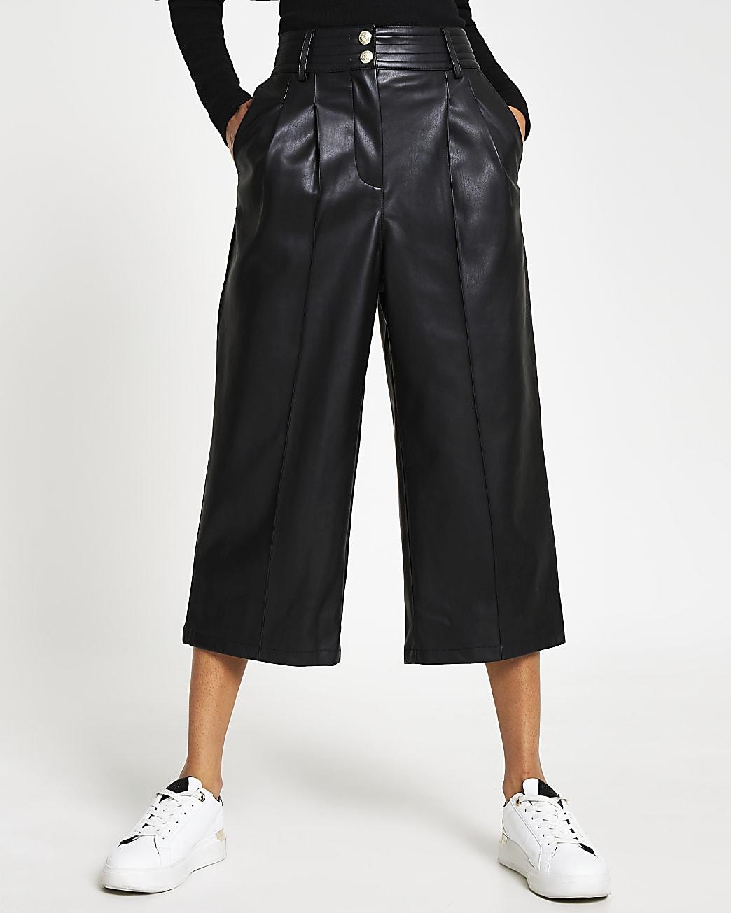 Black faux leather culottes