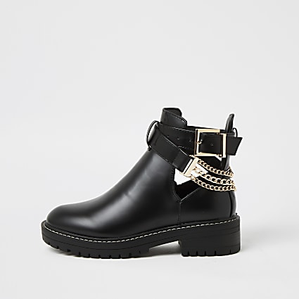 Black faux leather cut out chain detail boots