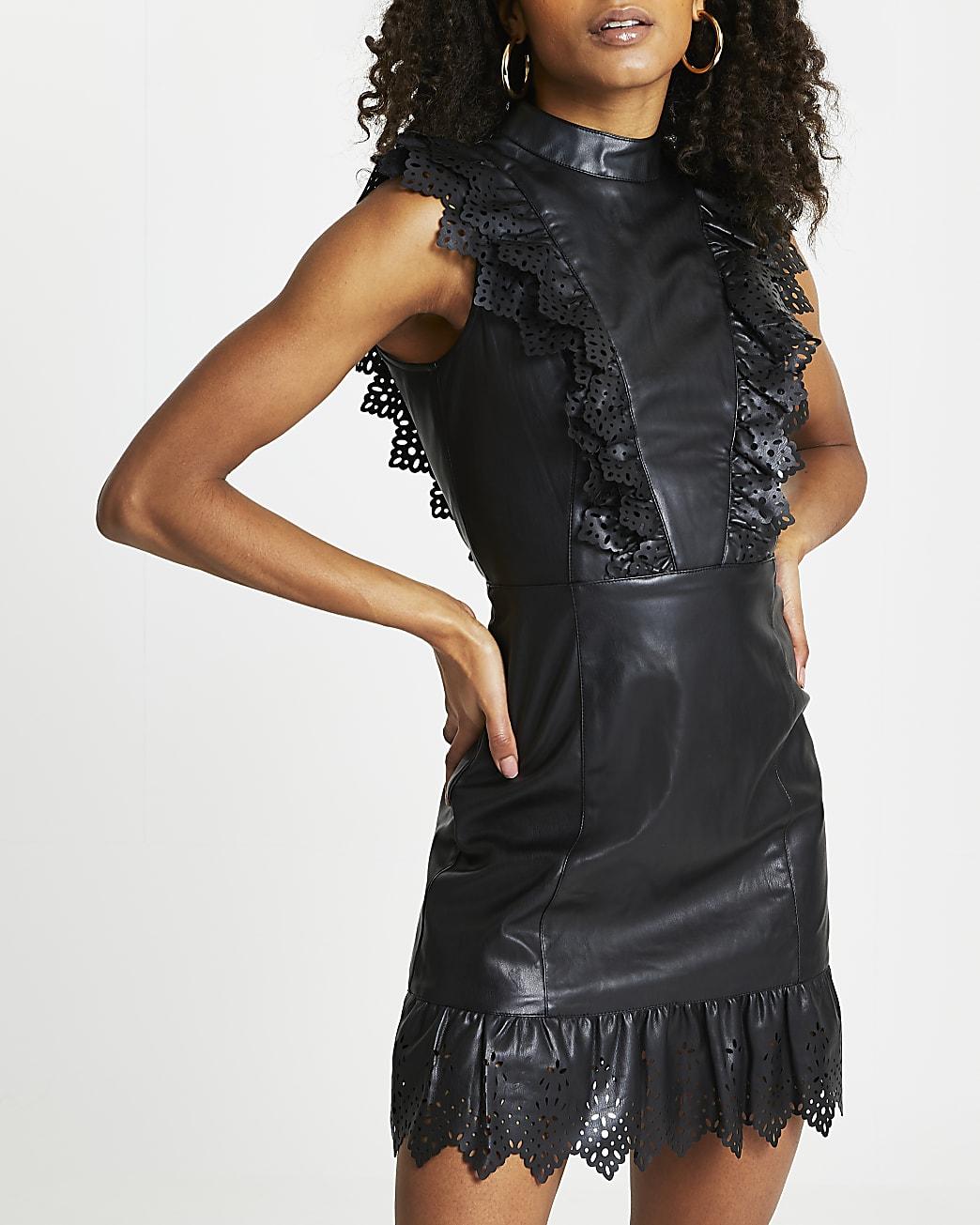 Black faux leather cutwork frill mini dress