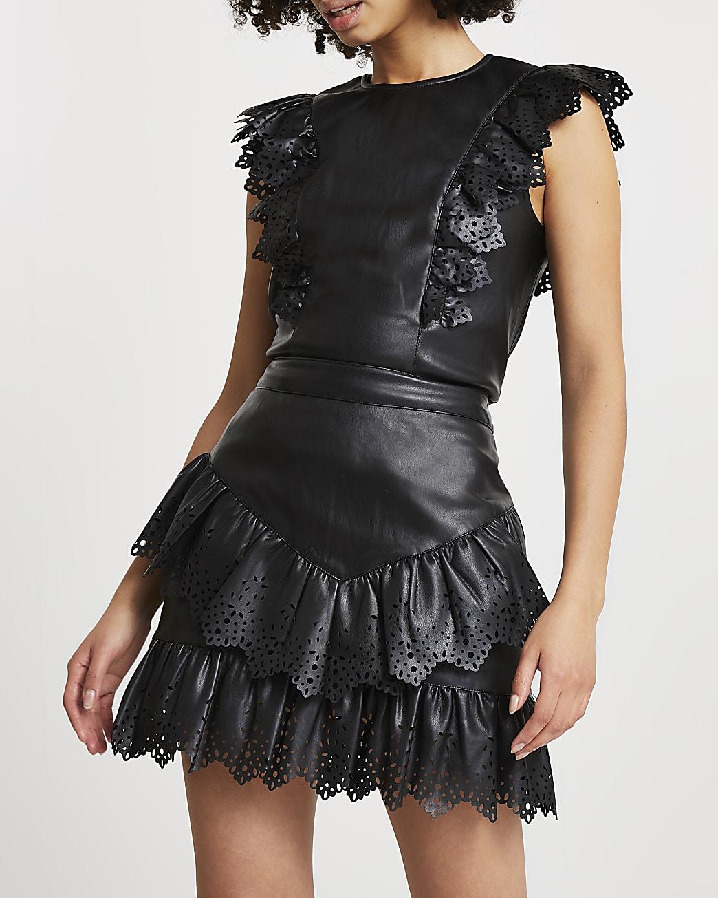 Black faux leather cutwork frill mini skirt
