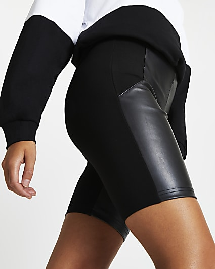 Black faux leather cycling shorts