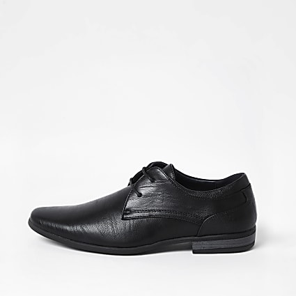 Black faux leather derby shoes