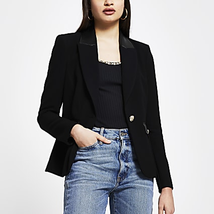 Black faux leather detail fitted blazer