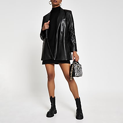 Black faux leather double breasted blazer