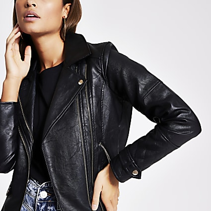 Black faux leather double zip biker jacket