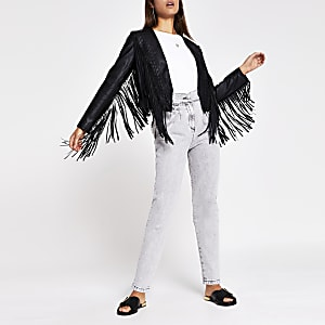 Black faux leather fringe crop jacket