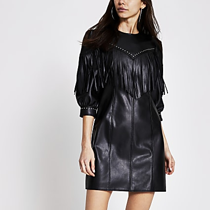 Black faux leather fringe mini shift dress