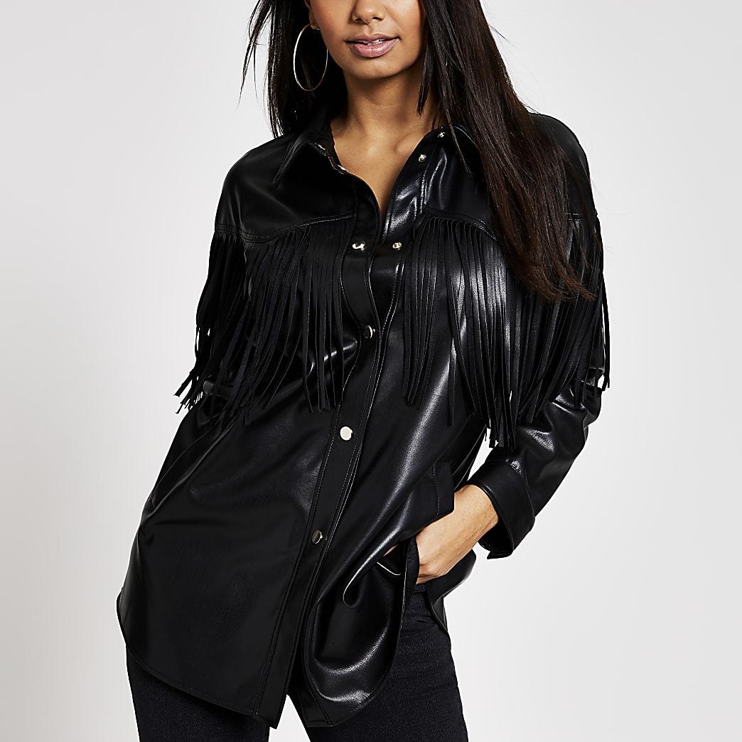 Black faux leather fringe shirt jacket