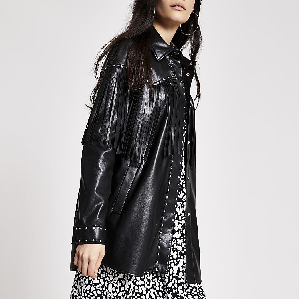 Black faux leather fringe studded jacket