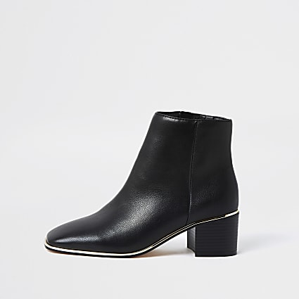 Black faux leather gold trim ankle boots