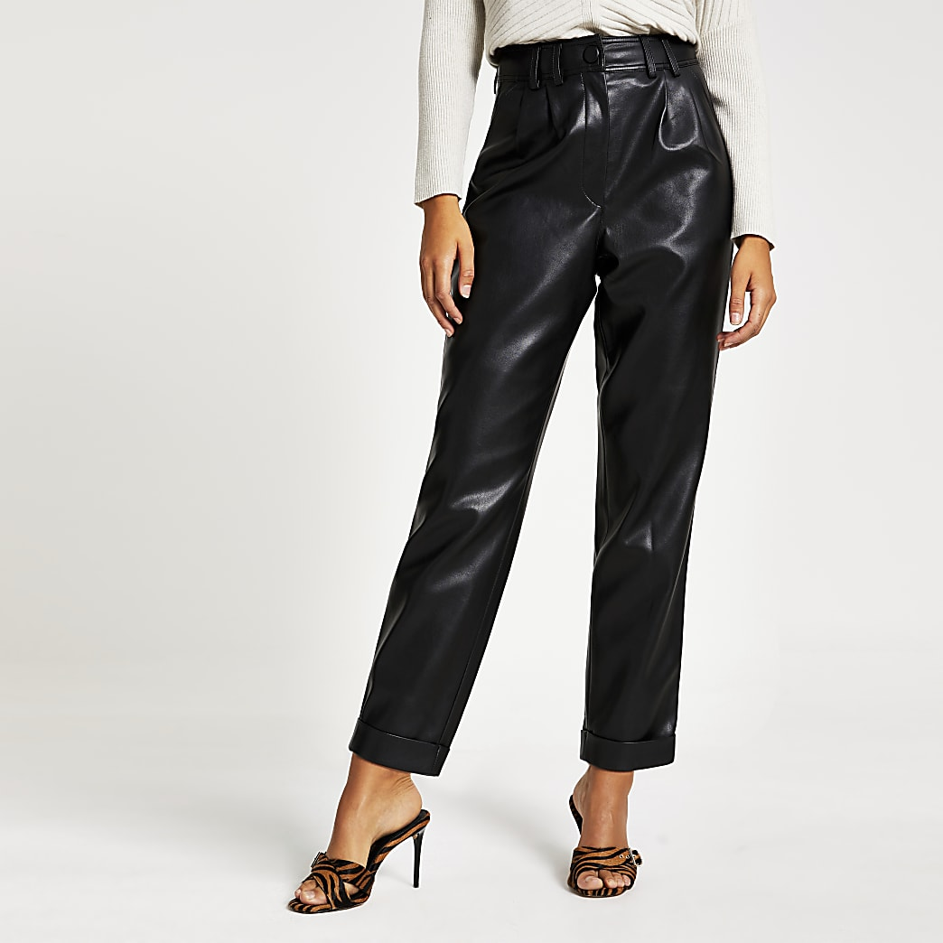 Black faux leather high waisted peg trousers