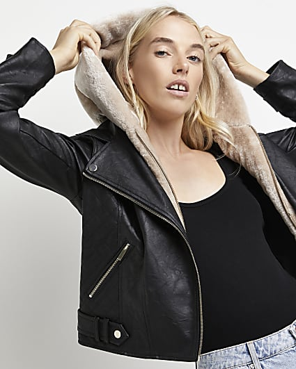 Black faux leather hooded biker jacket