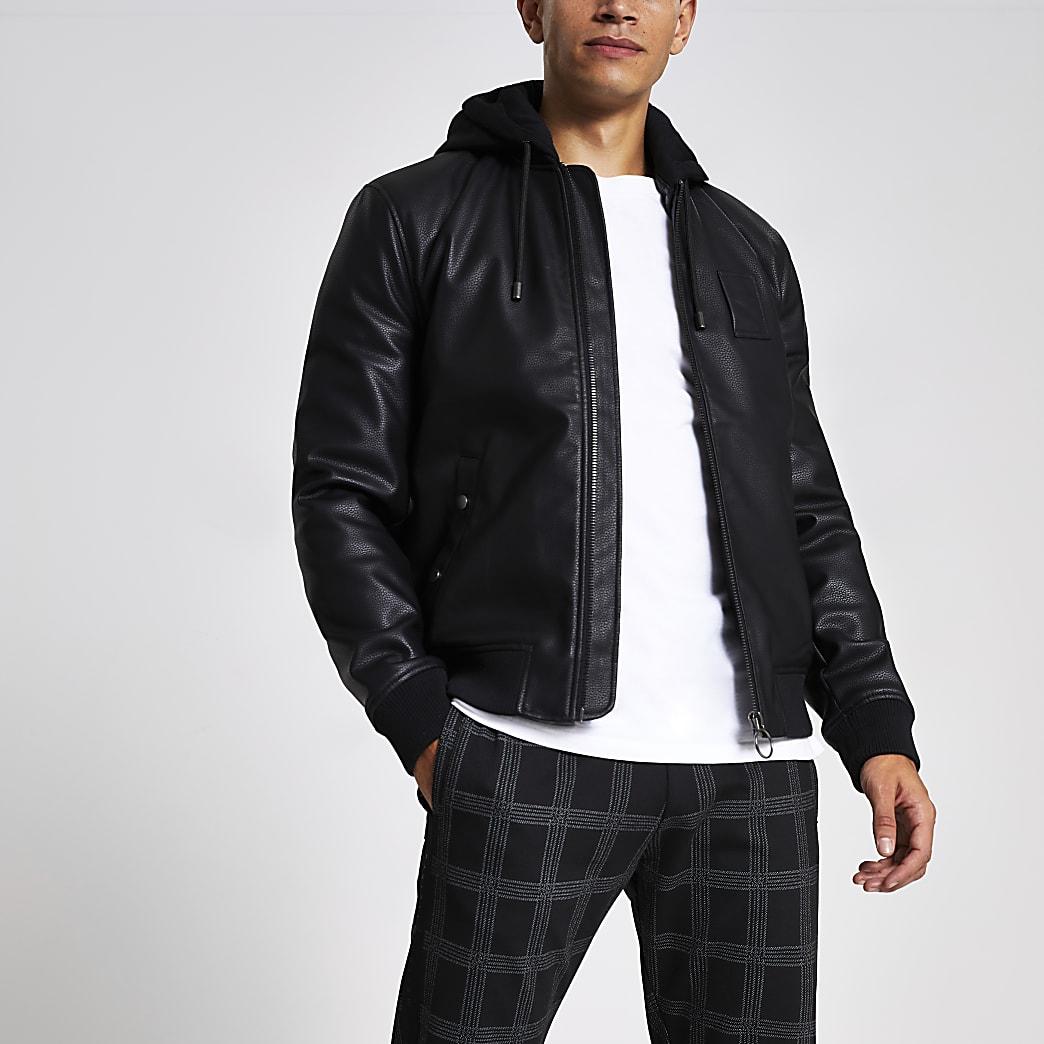 Black faux leather hooded bomber jacket