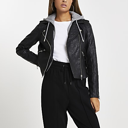 Black faux leather hoodie biker jacket