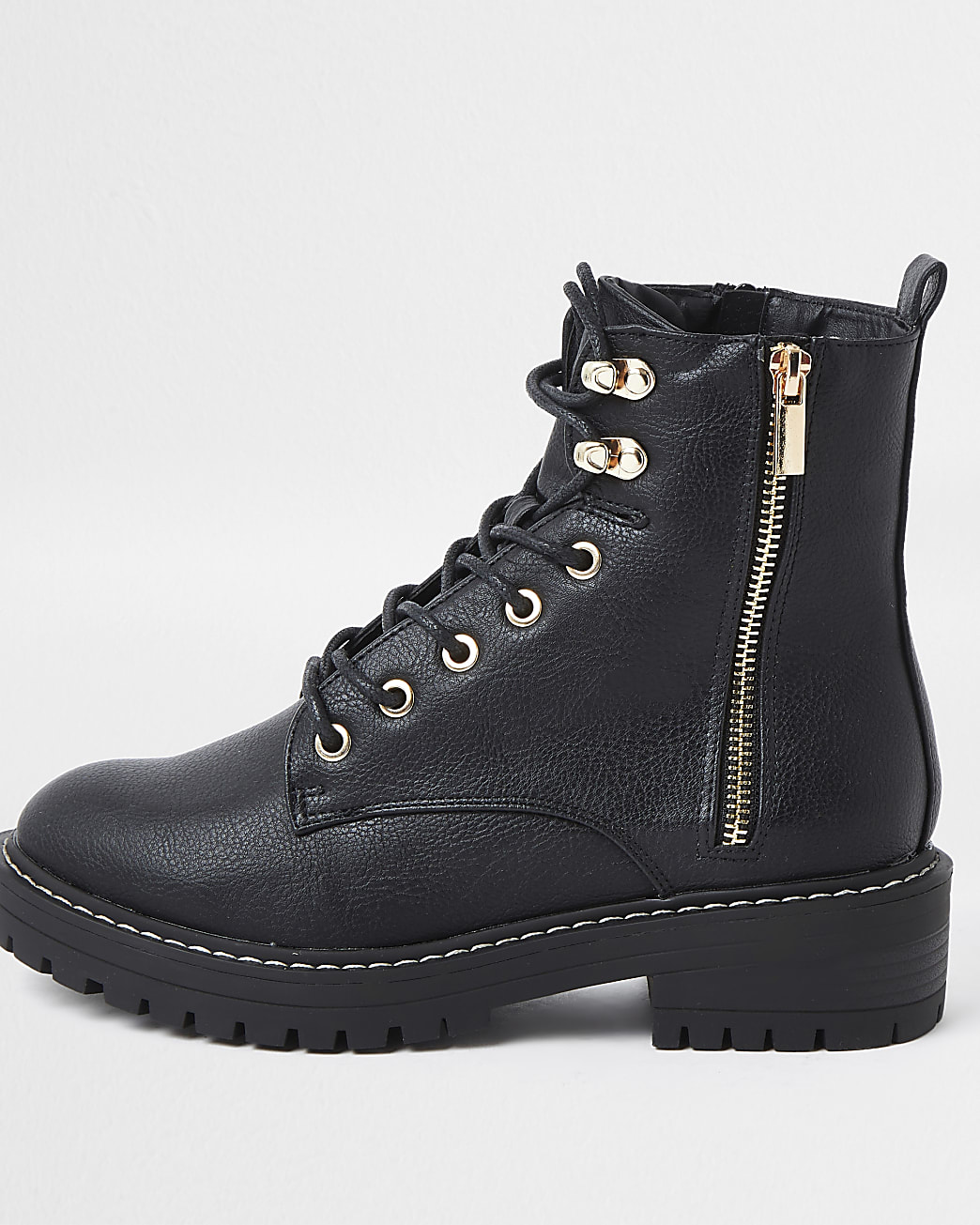 Black faux leather lace up ankle boots