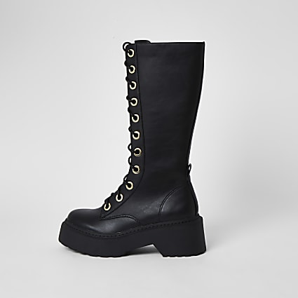 Black faux leather lace up boots