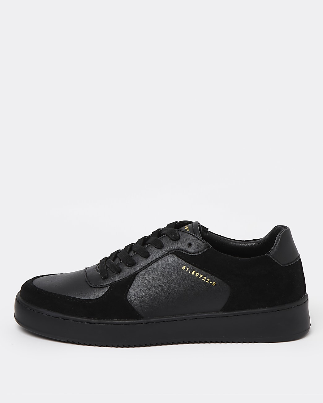 Black faux leather lace up trainers