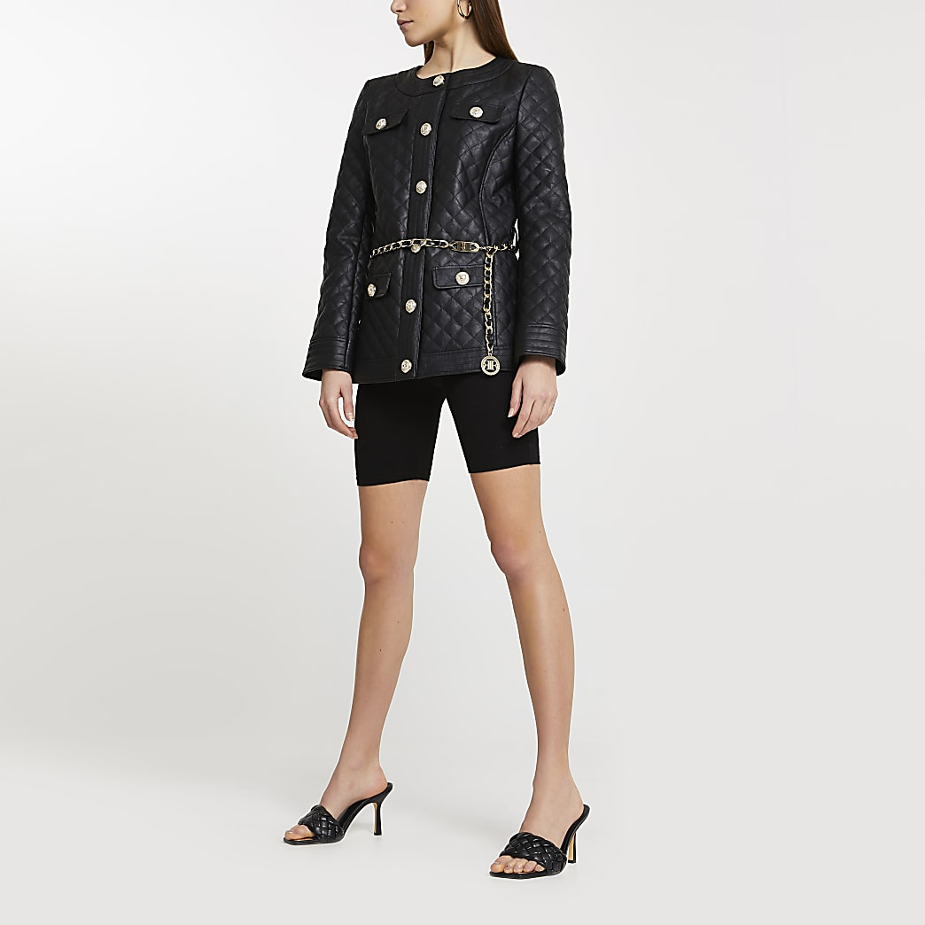 Black faux leather longline quilted jacket