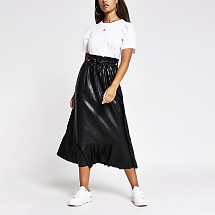 Black faux leather midi skirt