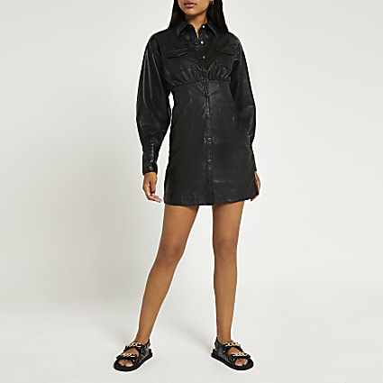 Black faux leather mini shirt dress