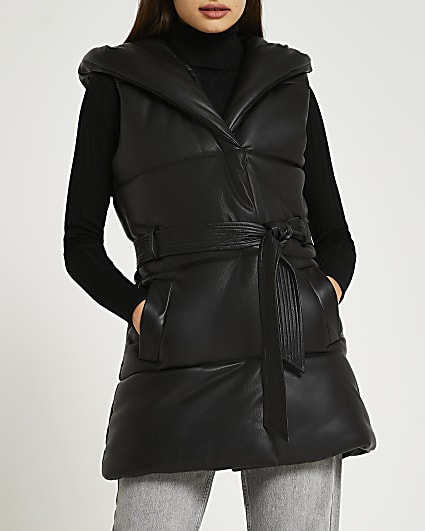 Black faux leather padded gilet