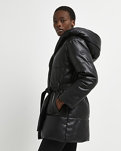 Black faux leather padded puffer coat