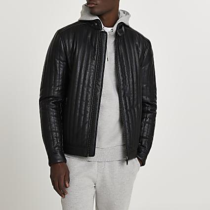 Black faux leather panelled racer jacket