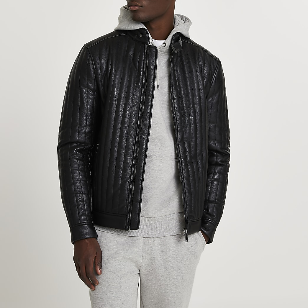 Black faux leather panelled racer jacket